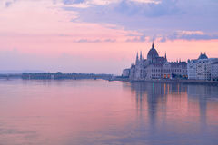 Parliament building in Budapest, Hungary at sunrise Stock Photos