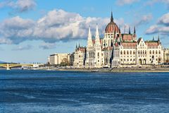 Parliament building in Budapest at midday in november. Royalty Free Stock Image