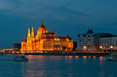 Parliament Building in Budapest at night. Stock Photography