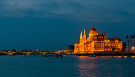 Parliament Building in Budapest at night. Royalty Free Stock Photography