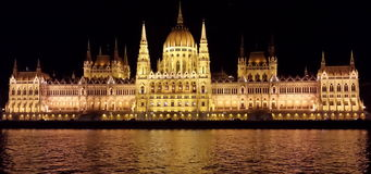 Parliament building in Budapest by night Royalty Free Stock Images