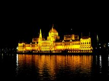 Parliament Building in Budapest at night. Stock Photo
