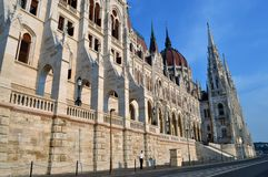 The Parliament Building - Budapest. Photo of the frontage of the Hungarian Parliament Building on the bank of the Danube - Budapest - Hungary- July 2010 Royalty Free Stock Photo