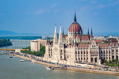 Parliament Building in Budapest from side at daytime Stock Photo