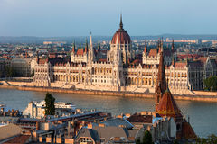 Parliament Building in Budapest at Sunset Stock Photography