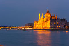 Parliament building Budapest at twilight Royalty Free Stock Images