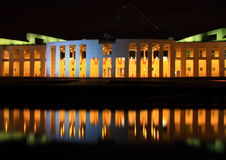 Parliament Building, Canberra, Australia. Front view of Parliament Building at night, with reflection, Camberra, Australia Royalty Free Stock Images