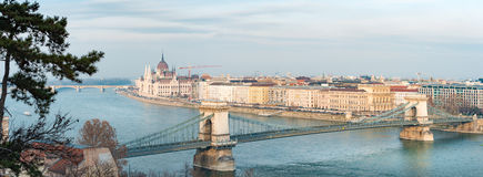 Parliament building and Chain Bridge in Budapest, Hungary, Europ Royalty Free Stock Photography