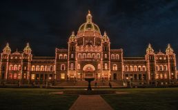 Parliament building in city of Victoria in Vancouver Island, Canada. Building of Parliament palace in city of Victoria in Vancouver Island, British Columbia stock photography