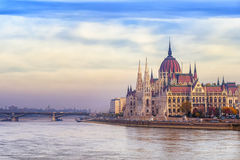 The Parliament building on Danube river, Budapest, Hungary Stock Photography