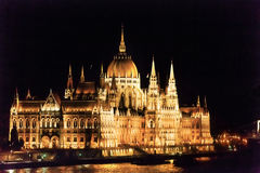Parliament Building Danube River Night Budapest Hungary Royalty Free Stock Image
