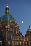 Parliament Building Moon, Victoria, BC Royalty Free Stock Photo