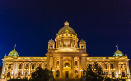 Parliament building. National Assembly at the night, Belgrade, Serbia Stock Images