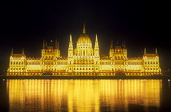 Parliament building at night. Budapest, capital of Hungary Royalty Free Stock Images