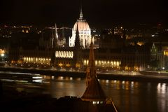 Parliament building at night in Budapest, Hungary Stock Images