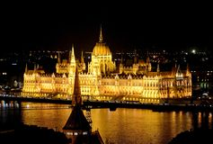 The parliament building at night, Budapest, Hungary Stock Image