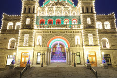 Parliament building night scene. The night scene of the historic parliament building (built in 1893) in christmas time in downtown of victoria , british columbia Royalty Free Stock Image