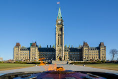 Parliament building in Ottawa, Canada. Centre Block, Peace Tower and Centennial Flame Stock Image