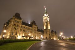 Parliament Building, Ottawa, Canada. Parliament Building illuminated at night time, Ottawa, Canada Stock Photo