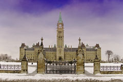Parliament building ottawa in winter snow. Gothic built style Royalty Free Stock Photos