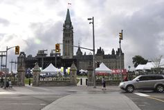 Ottawa, 26th June: Parliament building with Peace Tower at Canada 150 Festivity from Ottawa in Canada. Parliament building with Peace Tower at Canada 150 Royalty Free Stock Images