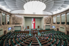 Parliament building in Poland. WARSAW, POLAND - MARCH 4, 2015. Members of Parliament during session of the lower house of the Polish parliament called Sejm Royalty Free Stock Photos