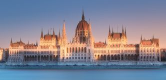 Parliament building and river Danube of Budapest. View of hungarian Parliament building at twilight in Budapest, Hungary. Clipping path of sky royalty free stock photos