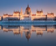 Parliament building and river Danube of Budapest. View of hungarian Parliament building at twilight in Budapest with reflection on water, Hungary. Clipping path stock photo