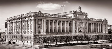 The parliament building in Stockholm, Sweden, in black and white Royalty Free Stock Photography