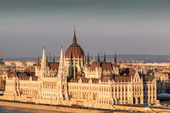 Parliament building at sunset, Budapest Hungary Royalty Free Stock Photography