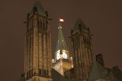 Parliament Building towers, Ottawa, Canada. Parliament Building towers at night, Ottawa, Canada Stock Photography