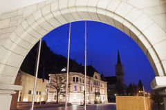 Parliament building and Vaduz Cathedral Stock Photo