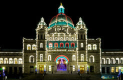 The Parliament building in Victoria. The Parliament building with christmas illumination at night, Victoria, British Columbia Stock Image