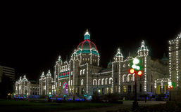 The Parliament building in Victoria. The Parliament building with christmas illumination at night, Victoria, British Columbia Stock Photos