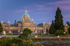 Parliament Building in Victoria at Dusk Royalty Free Stock Photos