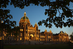 Parliament Building Victoria Night, BC Royalty Free Stock Images
