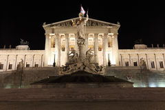 Parliament Building of Wien. Night view of the Parliament Building of Wien, Austria Stock Photos