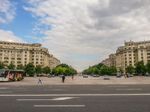 Parliament buildings from constitutiei square with beautiful architecture stock photos