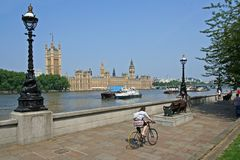Parliament Buildings and Cyclist Royalty Free Stock Photography