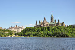 Parliament Buildings and Fairmont Chateau Laurier. Hotel in Ottawa, Ontario, Canada Stock Image