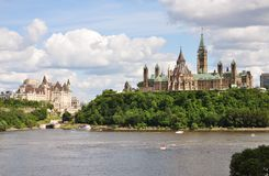 Parliament Buildings and Fairmont Chateau Laurier. Hotel in Ottawa, Ontario, Canada Royalty Free Stock Photography