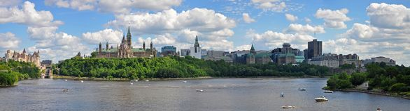 Parliament Buildings and Fairmont Chateau Laurier, Ottawa, Canada. Parliament Buildings and Fairmont Chateau Laurier Hotel panorama in Ottawa, Ontario, Canada stock image