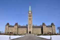 Parliament Buildings winter view, Ottawa, Canada Royalty Free Stock Photos