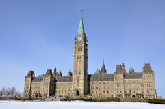 Parliament Buildings winter view, Ottawa, Canada Stock Photo