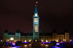 Parliament of Canada. Night shot of Canadian parliament lit up for christmas Royalty Free Stock Image