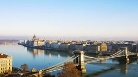 Parliament and the Chain Bridge in Budapest, Hungary Royalty Free Stock Images