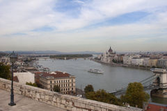 Parliament and Chain Bridge Panorama in Budapest from Buda Hill. Panoramic shot of the Hungarian Parliament and the Chain Bridge in Budapest from the Buda side Stock Photo