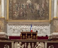 The parliament chamber of deputies at the Assemblee Nationale,  Paris, France Stock Photo