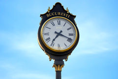 Parliament clocks in Bucharest city Stock Images