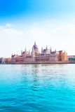 Parliament on Danube river at summer time Stock Images